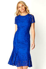 Roman Originals Royal Blue Flute Hem Lace Midi Dress Size 16 Bnwt
