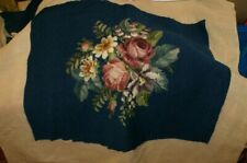 "VINTAGE Large 19"" SQ. chair Needlepoint Upholstery panel ROSES AND FLOWERS"