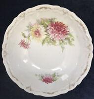 Antique Vintage Floral Scalloped & Embossed Serving Bowl Signed Weiman Germany