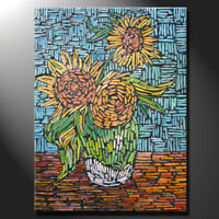 Original mosaic artwork painting porcelain van gogh inspired sunflower GeeBeeArt