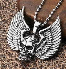 with Chain 23 5/8in Biker Rocker Mc Stainless Steel Pendant Skull and Wings Xl
