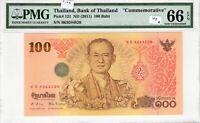 Thailand PMG Certified Banknote 2011 100 Baht UNC 66 EPQ Gem Pick 124 Commem