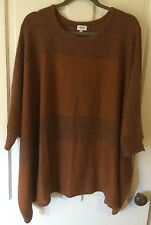 Hyden Yoo New York Poncho Brown Cape Pullover Sweater Knit Top Blouse Womens' M