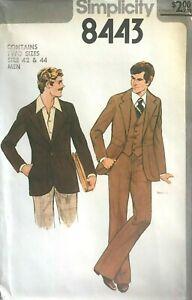 1970's VTG Simplicity  Men's Jacket, Vest, Pants Pattern 8443 Size 42-44 UNCUT