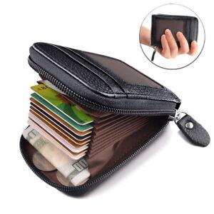 Herren Leder Geldbörse Kreditkartenetui mit RFID Schutz Geldbeutel Karten Halter