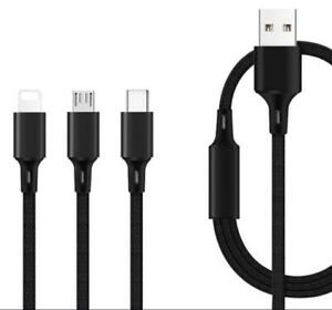 3 in 1 Fast Multi USB Phone Charger Charging Cable Sync Braided iPhone Android