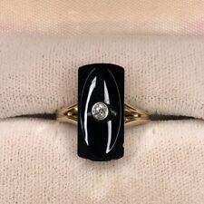 14k Yellow Gold Ring Diamond Onyx Antique Art Deco Vintage 3g Sz 5.5