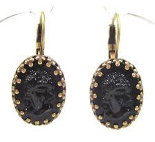 SoHo® Ohrhänger Ohrringe Gemme schwarz vintage bohemia Glas noir oval bronze jet