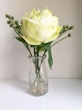 Artificial Silk Flowers Decor In Glass Vase W/Artificial Water Yellow Rose