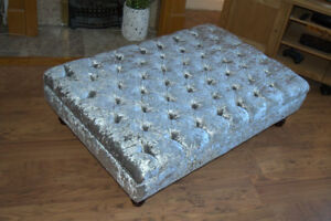 Extra Large Chesterfield  Deep Button Large Footstool in Crushed Silver Velvet