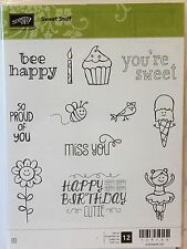 Stampin Up SWEET STUFF clear mount stamps Birthday Cupcake bird bee flower