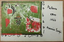Lithographie + Dessin Feutre MAURICE EMPI 1964 avec Envoi