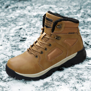 Men's Leather Winter Lace Up Boots Ankle Length With Fur Lining Outdoor Work