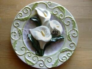 """3D GANZ BELLA CASA Calla Lily Flower  Display Plate 8 """" with Hook NEW Home Decor"""