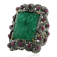 18kt Gold 925 Sterling Silver Emerald Ruby Diamond Cocktail Ring Carved Jewelry