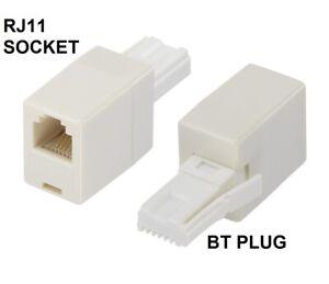 UK BT Telephone Plug To RJ11 Socket Adapter Connector Plug Straight Wire Adaptor