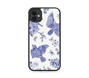 Blue Sketched Sparrow Birds Rubber Phone Case Bird Sparrows Drawn Picture G204
