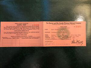 1940 Denver and Rio Grande Western Railroad Company Brakeman & Wife Trip Pass