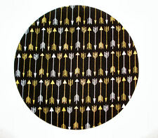 Round Computer Mouse Pad / Mat - gold metallic arrows black