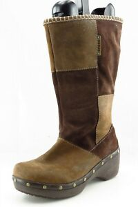 Crocs Boot Sz 7 M Mid-Calf Boots Round Toe Brown Leather Women