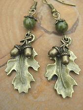 Bronze Oak Leaves & Acorns Earrings Unakite Gemstone Beads Pagan Hedgewitch