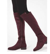 Michael Kors Knee High Boots Riding Bromley Flat Burgundy Women's Size 8.5