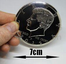 "JUMBO COIN KENNEDY HALF DOLLAR BIG MONEY MAGIC TRICK METAL GIANT NEW PROP 7cm 3"""