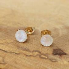 14k Gold Filled 6mm Cut Faceted Round Rainbow Moonstone Stud Earrings