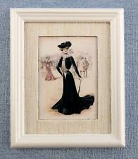 Dolls House Lady in Black Painting White Frame Miniature Picture Accessory