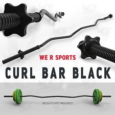 "Curl Bar With Spinlock Collars Weight Lifting Gym Fitness EZ 1"" Barbell Black"