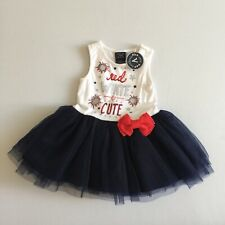 Authentic Kids Red White Blue America July 4th Baby Girl's Tutu Dress 9-12 Monts
