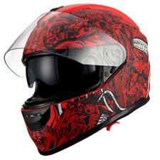 1Storm Motorcycle Full Face Helmet Dual Lens Sun Visor Monster Matt Skull Red