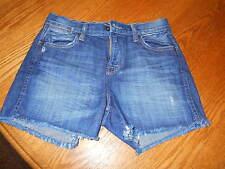 """Lucky Brand Distressed Dark Wash Denim Jean Shorts Size 0/28 3.5"""" Inseam"""
