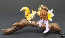 Fairy Baby Figurine Kissing Squirrel on Branch Fairy Garden Fantasy Figurine