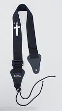 Christian Guitar Strap BLACK NYLON WHITE CROSS Leather ends Made USA Since