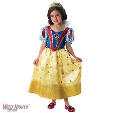 Girls Disney Glitter Princess Dress Costume & Tiara Fancy Dress Set UK Age 3-8