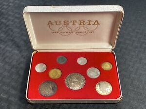 1964 Austria 9 Coin Olympic Proof Set in Original Case Lot#BG402 Silver!