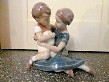VINTAGE COPENHAGEN PORCELAIN B & G GIRL & SMALL BOY FIGURE