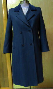 Vintage 1960s LC Tailorwear Made in England Girl's Wool Coat Size 8 Blue