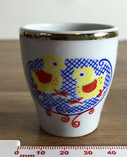 Gold Rimmed Painted Egg Cup with Two Chicks Motif