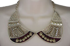 Women Gold Short Bib Necklace Metal Chains Collar Spikes Fashion Jewelry Earring