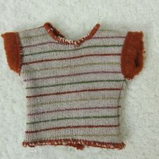 Barbie Doll Clothes Vintage Striped Sweater Pullover V Open Back Fleece Lined