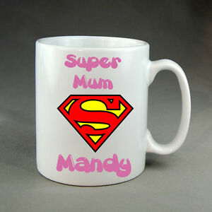 MOTHERS DAY PERSONALISED SUPERMAN MUG FATHERS DAY BIRTHDAY VALENTINES GIFT