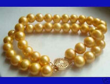 """New 2 row 8mm Golden shell pearl bracelet 18KGP Clasp AAA 7.5"""""""