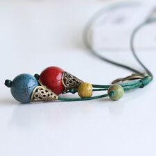 Retro Ethnic Ceramic Bead Leaf Pendant Long Chain Sweater Necklace Women Proper