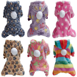 Dog Warm Soft Fleece Pajamas Jumpsuit Puppy Pet Dog Hoodie Costume Coat Clothes