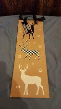 Bottle Gift Bag Christmas Reindeer Beige free uk p&p