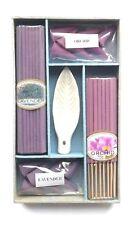 Lavender & orchid joss stick incense box set with leaf shaped ceramic holder