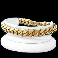 "11mm Thick ROUNDED CURB Link 9"" 14K GOLD GL Solid Bracelet 