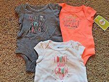 NWT Infant Girl Set of 3 White Gray Peach Short Sleeve Circo Bodysuits 12 Months